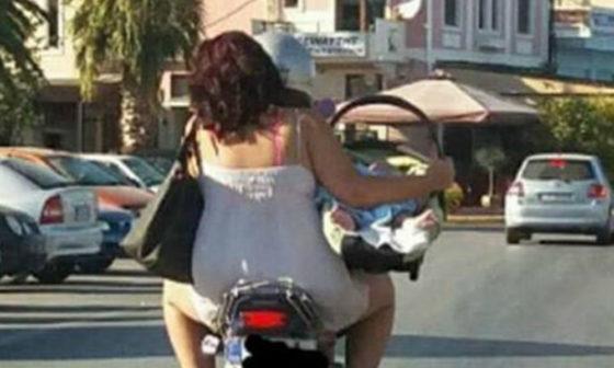 ΣΟΚ προκαλεί η φωτογραφία με νεογέννητο βρέφος σε μηχανάκι